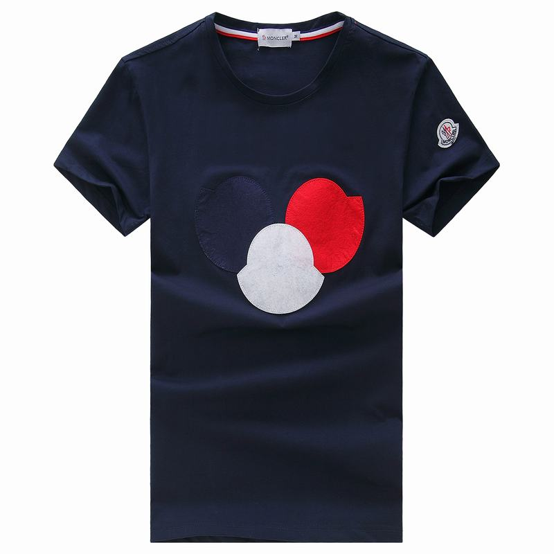 2018 Moncler New Italy Silk Cotton Limited T Shirt Big Tricolor LOGO Dark Blue